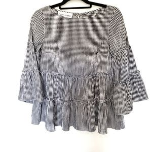 Sara Campbell Gingham Tiered Swing Blouse, XS